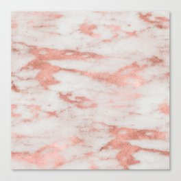 White Marble with Rose Gold Foil Canvas Print