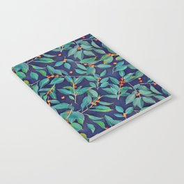 Leaves + Berries in Navy Blue, Teal & Tangerine Notebook