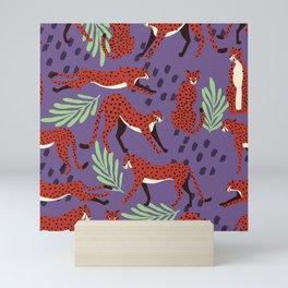 Dark cheetah pattern Mini Art Print