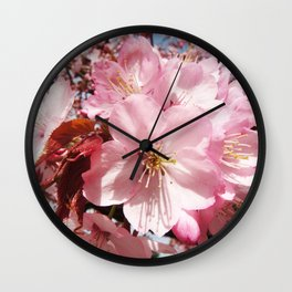 Pastel pink brown organic pretty flowers photography Wall Clock