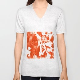 Orange Cactus Pattern Unisex V-Neck