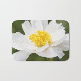 White Krinkled Peony in Bloom Bath Mat