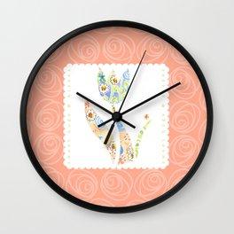 Sweet Hugs & Kisses, pink background Wall Clock