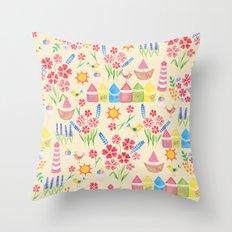 Watercolour seaside pattern Throw Pillow