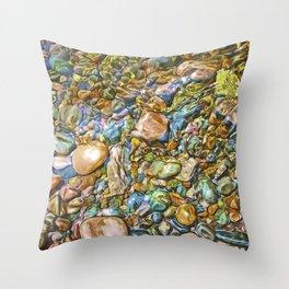 Baptism River Rocks Throw Pillow