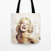 low poly Tote Bags featuring Marilyn low poly by Pinkpulp