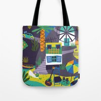 greece Tote Bags featuring Greece by Marijke Buurlage