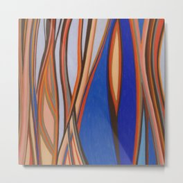 Retro Blues Browns Oranges Line Design with Pastels by annmariescreations Metal Print