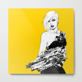 Arbitrary - Badass girl with gun in comic and pop art style Metal Print