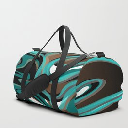 Liquify - Brown, Turquoise, Teal, Black, White Duffle Bag