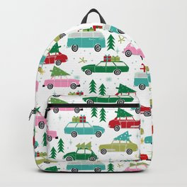 Christmas car tradition christmas trees holiday pattern winter festive Backpack