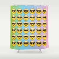 emoji Shower Curtains featuring Sunglasses Emoji by jajoão