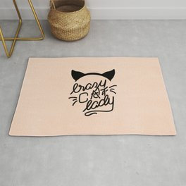 Crazy Cat Lady Calligraphy Lettering with Cat Ears & Whiskers on Pink Rug