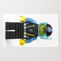 scuba Area & Throw Rugs featuring Minifig SCUBA Diver by Jarod Pulo