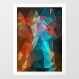 Abstract bright background of triangles polygon print illustration Art Print