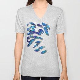 Blue And White Modern Art - Falling 2 - Sharon Cummings Unisex V-Neck