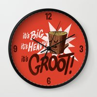groot Wall Clocks featuring It's Groot by Gimetzco's Damaged Goods