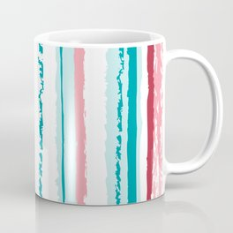 Grunge Red White and Blue Faded Candy Stripes Coffee Mug