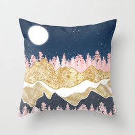 mountains and forest pink and gold Throw Pillow