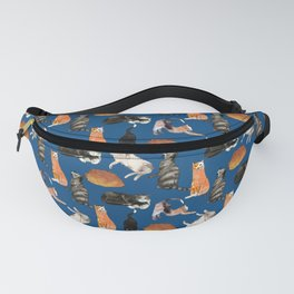 cats cats cats on blue Fanny Pack