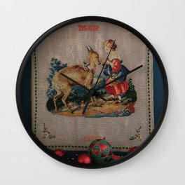 Sweet Antique Sampler about Love, Girl Feedig a Roe Deer. Made in 1892 Wall Clock