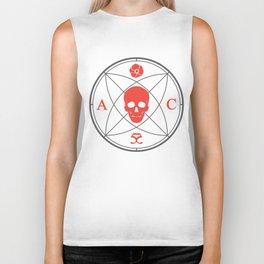 Abbie Cat Designs Skull Logo - Gray and Scarlet Biker Tank