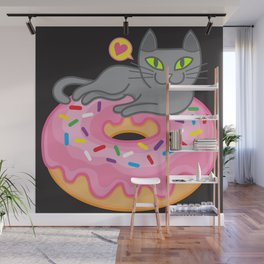 My cat loves donuts 2 Wall Mural