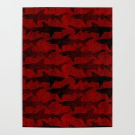 Blood Red Sharks Poster