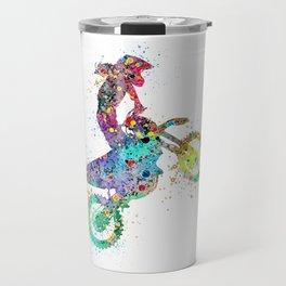 Girl Motocross Colorful Watercolor Moto Bike Supercross Art Travel Mug