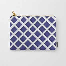 White Diagonal Check Carry-All Pouch