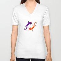 lizard V-neck T-shirts featuring Lizard by DanBee Kim