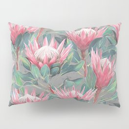 Pink Painted King Proteas on grey Pillow Sham