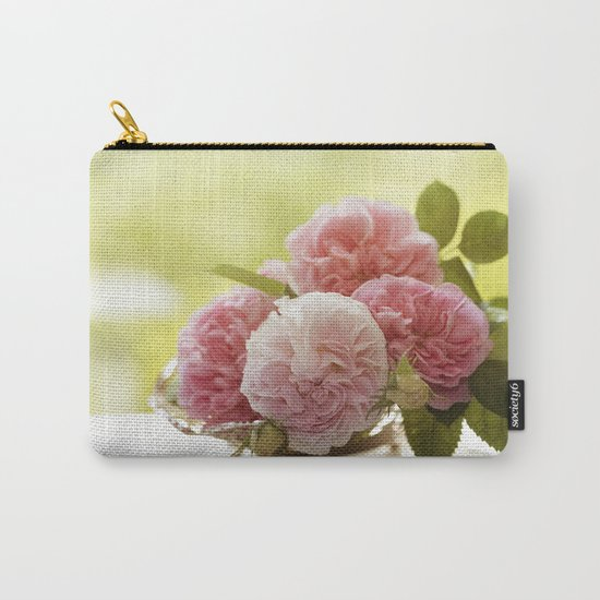 Pink Roses in a silver bowl- Vintage Rose Stilllife Photography Carry-All Pouch