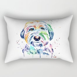 Sheepdog Watercolor Pet Portrait Painting - Gus the Sheepdog Rectangular Pillow
