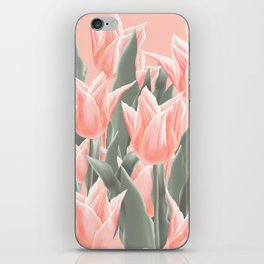 Stylish Peach Tulips Flowers Watercolor Illustration, coral pink color background. Boho style iPhone Skin