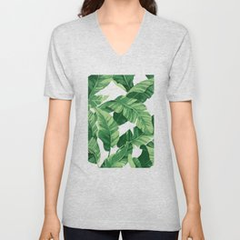 Tropical banana leaves IV Unisex V-Neck