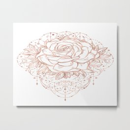 Mandala Lunar Rose Gold Metal Print