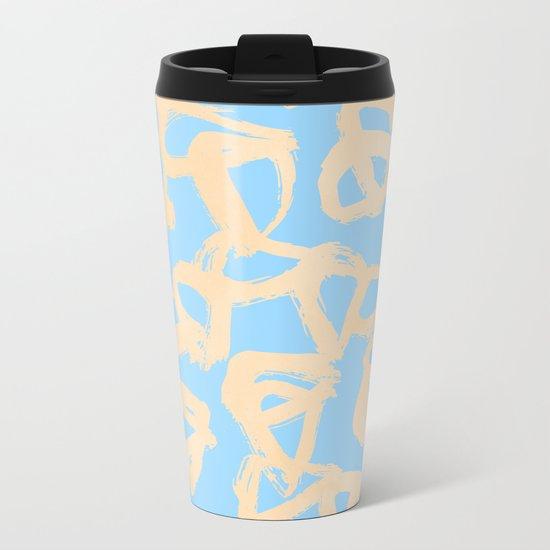 Sweet Life Triangle Dots Orange Sherbet + Blue Raspberry Metal Travel Mug