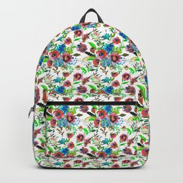 Bohemian modern pink blue green watercolor floral Backpack