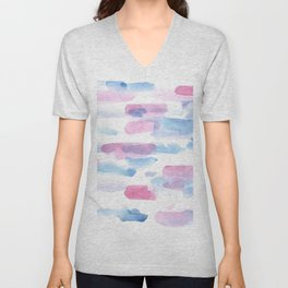 180527 Abstract Watercolour 16 | Watercolor Brush Strokes Unisex V-Neck