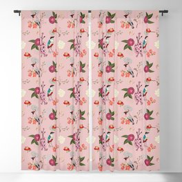 Eastern delight Japanese garden, pink. Blackout Curtain