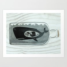 Whale in a Bottle | Treasure and Skull Art Print