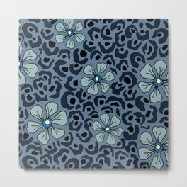 Blue animal print floral Metal Print