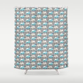 Polygon Tibetan Spaniel Elegant Taupe Pattern Shower Curtain