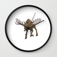 moose Wall Clocks featuring Moose by Jemma Salume