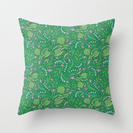 Lilies of the valley and crocuses on green background Throw Pillow