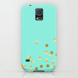 Gold Confetti on Mint iPhone Case