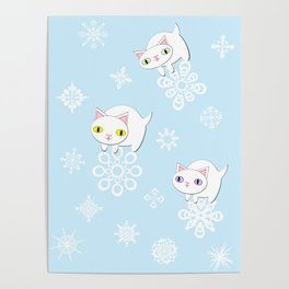 Three Feline Snowflake Pals Poster