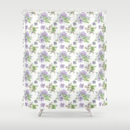 Succulents Pattern Purple and Green Shower Curtain
