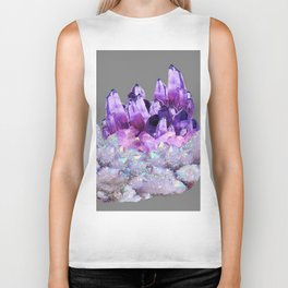 SPARKLY WHITE QUARTZ & PURPLE AMETHYST CRYSTAL Biker Tank